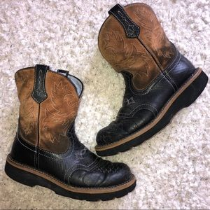 Ariat Fatbaby Brown Leather Boots Size 8B